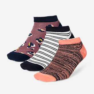 Women's Low-Profile Patterned Socks - 3-Pack in Pink