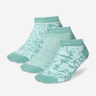 Women's Low-Profile Patterned Socks - 3-Pack in Blue