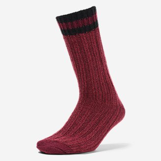 Women's Merino Wool-Blend Ragg Crew Socks in Red