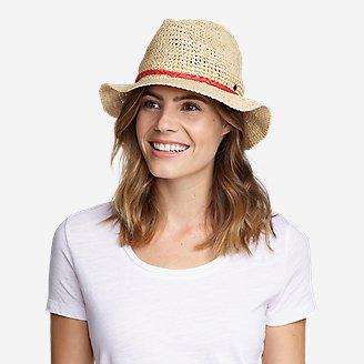 Women's Packable Straw Hat - Medium Brim in White