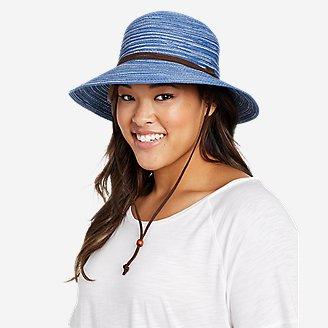 Women's Packable Straw Hat - Wide Brim in Blue