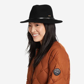 Women's Felt Wide Brim Hat in Black