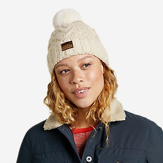 Women's Cable-Knit Beanie in White