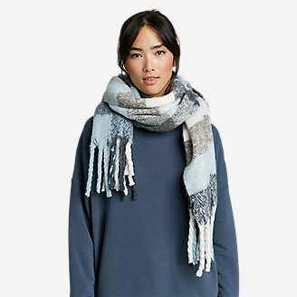 Exploded Plaid Brushed Scarf in Blue