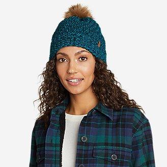 Women's Cabin Faux Fur Pom Beanie in Blue