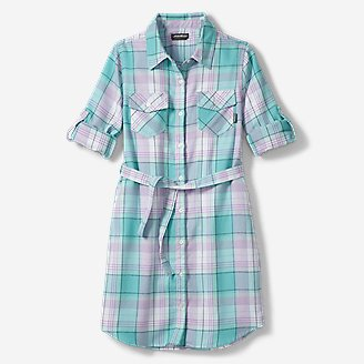 Girls' Plaid Shirt Dress in Blue