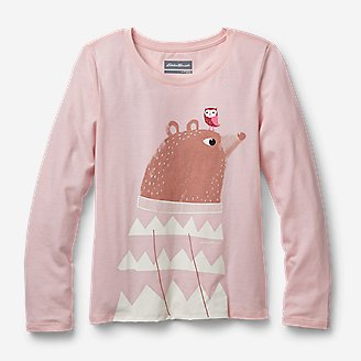 Girls' Long-Sleeve Graphic T-Shirt in Red