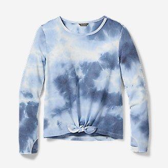 Girls' Long-Sleeve Tie-Dye T-Shirt in Blue