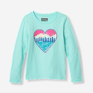 Girls' Graphic Long-Sleeve T-Shirt in Blue