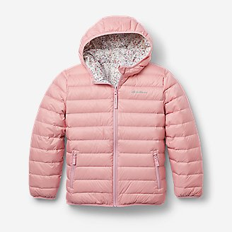 Girls' CirrusLite Reversible Down Hooded Jacket in Red