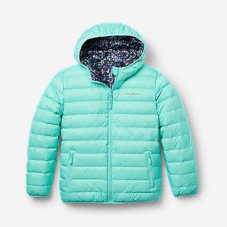 Girls' CirrusLite Reversible Down Hooded Jacket in Blue