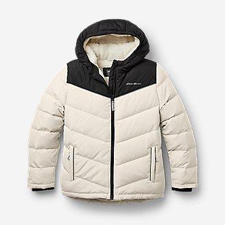 Girls' Classic Down Hooded Jacket in Beige