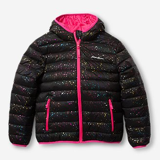 Girls' Cirruslite Reversible Down Hooded Jacket in Black