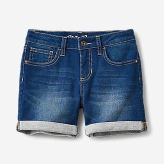 Girls' Flex Knit Denim Shorts in Blue