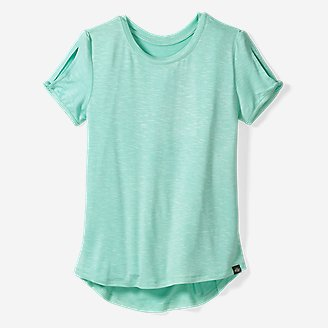 Girls' Vista Twist Pleated-Back Short-Sleeve T-Shirt in Green