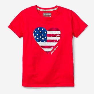 Girls' Americana Flip Sequin T-Shirt in Red