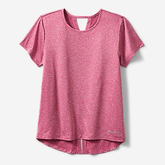 Girls' Trail Tie-Back Short-Sleeve T-Shirt in Red