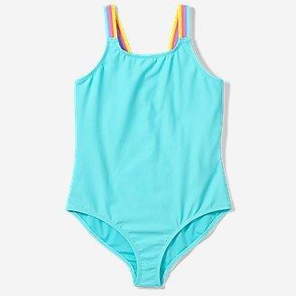 Girls' Sea Spray One-Piece Swimsuit in Blue