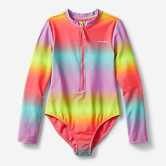Girls' Sea Spray Long-Sleeve 1-Piece Swimsuit in Pink