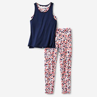 Girls' Extra Mile Trail Tight Leggings & Top Set in Blue