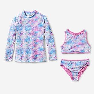 Girls' Sea Spray Long-Sleeve 3-Piece Swim Set in White
