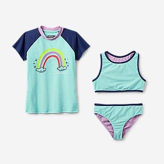Girls' Sea Spray Short-Sleeve 3-Piece Swim Set in Blue