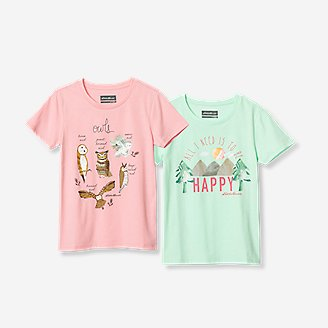 Girls' Graphic T-Shirt - 2-Pack in Red
