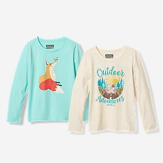 Girls' Graphic Long-Sleeve T-Shirt - 2-Pack in Blue