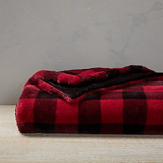 Cabin Faux Fur Throw in Red
