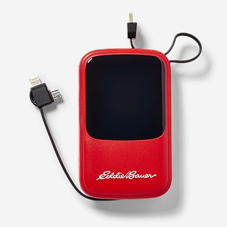 10,000 mAh Power Bank w/ Built-In Cables in Red