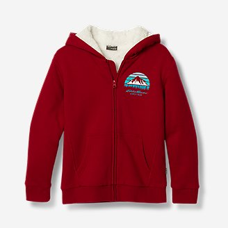 Boys' Camp Fleece Lined Hoodie in Red