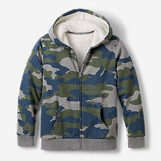 Boys' Camp Fleece Sherpa-Lined Hoodie - Print in Green