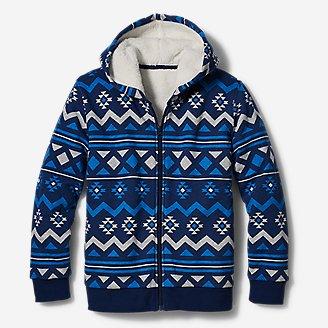 Boys' Camp Fleece Sherpa-Lined Hoodie - Print in Blue