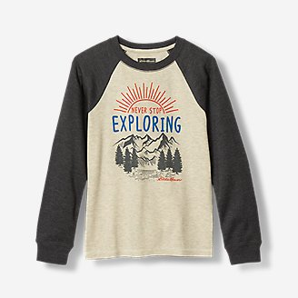 Boys' Graphic Long-Sleeve Thermal Crew in Beige
