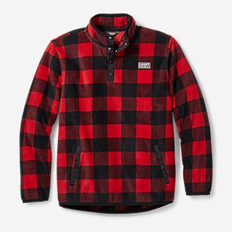 Boys' Quest Fleece Snap-Neck Pullover - Print in Red