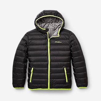 Boys' CirrusLite Reversible Down Hooded Jacket in Gray