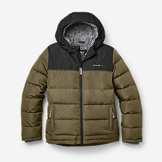 Boys' Classic Down Hooded Jacket in Green