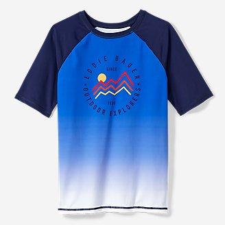 Boys' Sea Spray Short-Sleeve Gradient Rash Guard in Blue