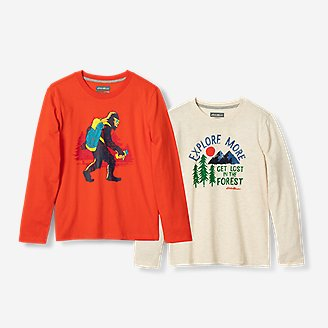 Boys' Graphic Long-Sleeve T-Shirt - 2-Pack in Orange