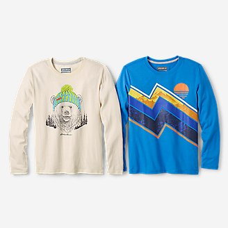 Boys' Long-Sleeve Graphic T-Shirt - 2-Pack in Beige