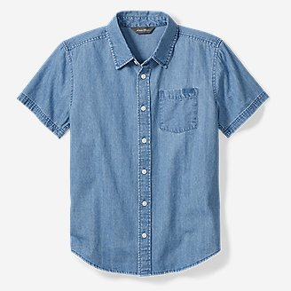 Boys' Chambray Short-Sleeve Shirt in Blue