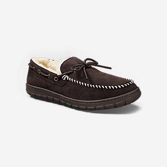 Men's Shearling-Lined Moccasin Slipper in Brown