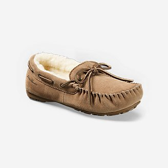Women's Shearling-Lined Moccasin Slipper in Beige