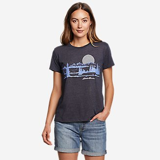 Women's Graphic T-Shirt - Tree Line in Blue