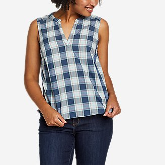 Women's Etesian Split-Neck Tank Top in Blue