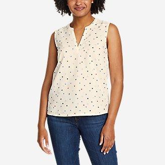 Women's Etesian Split-Neck Tank Top in White