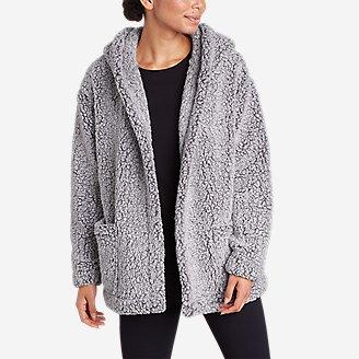 Women's Campfire Plush Fleece Hooded Open Cardigan in Gray
