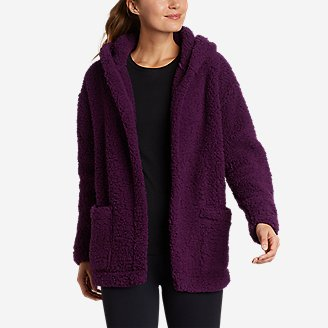 Women's Campfire Plush Fleece Hooded Open Cardigan in Purple