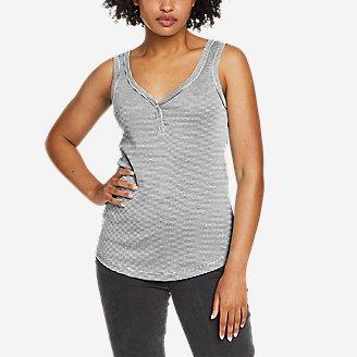 Women's Favorite Henley Tank Top - Stripe in Black