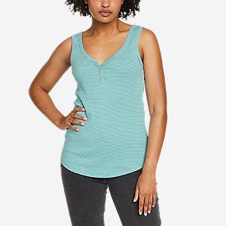 Women's Favorite Henley Tank Top - Stripe in Green